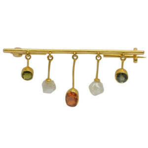 Edwardian Gemstone Pearl Gold Brooch