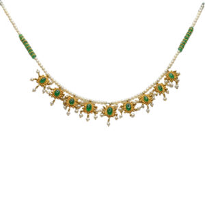 Emerald and Pearl 22ct Gold Necklace