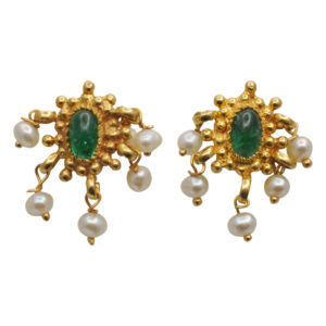 Cabochon Emerald and Pearl Gold Earrings