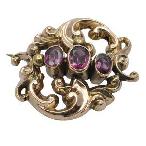 Victorian Garnet Gold Brooch