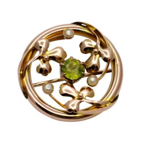 Victorian Peridot and pearl Gold Brooch