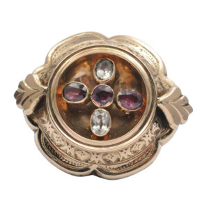 Victorian Garnet and Quartz Gold Brooch