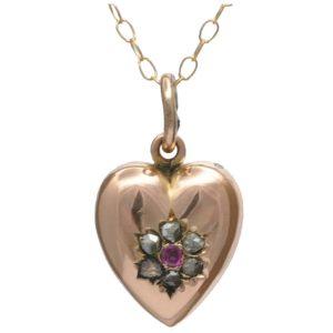 Small Victorian Diamond and Ruby Heart Pendant