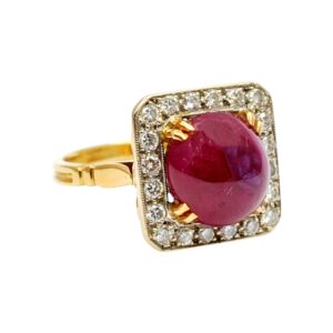 French Vintage Cabochon Ruby and Diamond Ring