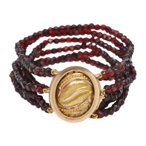 Victorian Multi Strand Garnet 18ct Gold Bracelet