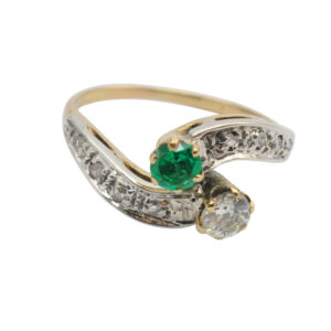 Antique Emerald and Diamond Crossover Ring