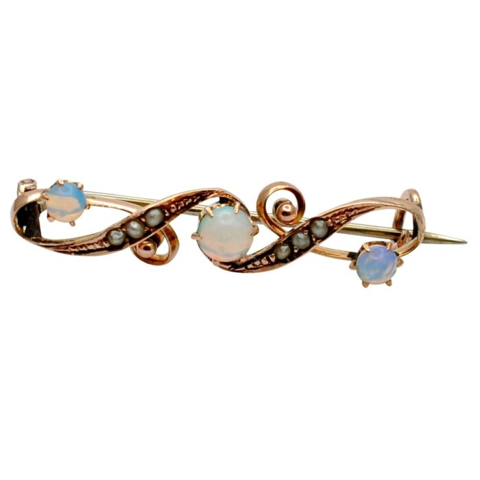 Victorian Opal and Seed Pearl Gold Brooch