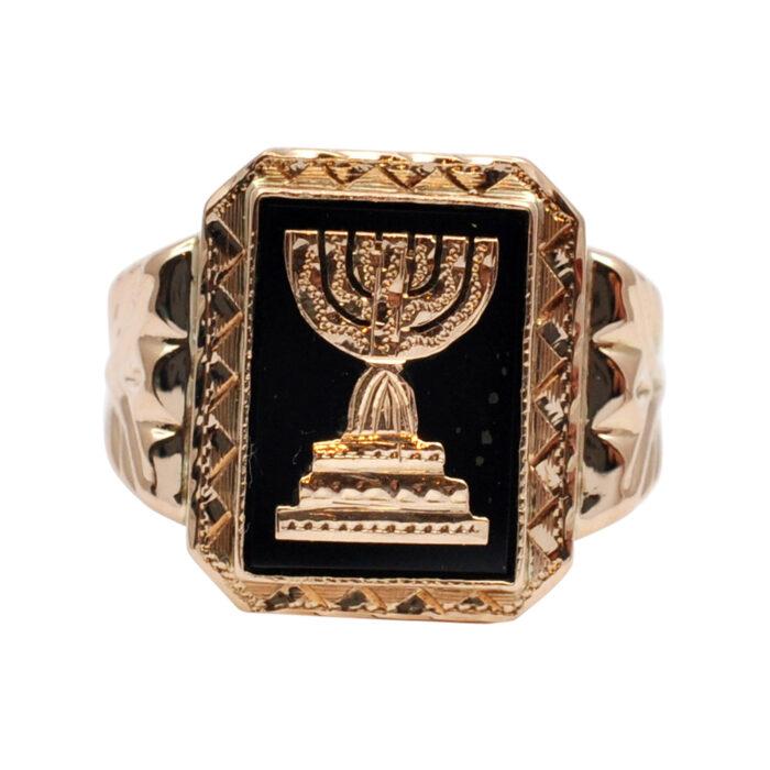 Retro Gold and Onyx Menorah Signet Ring