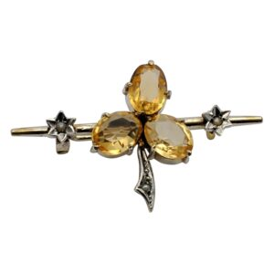Victorian Citrine Pearl and Gold Floral Brooch