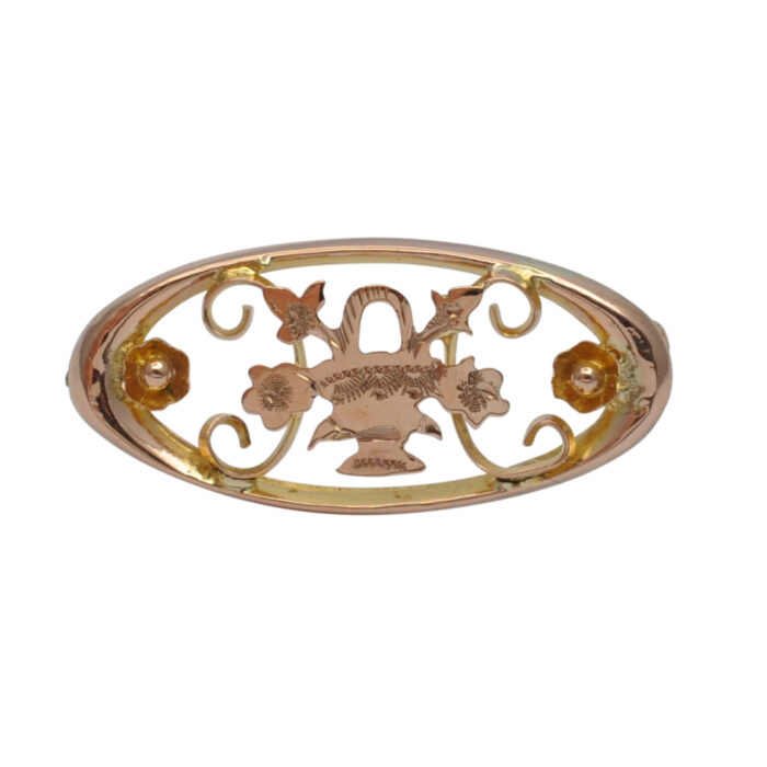 Victorian 9ct Gold Flower Basket Brooch