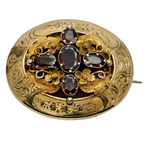 Victorian Flat Cut Garnet Gold Mourning Brooch