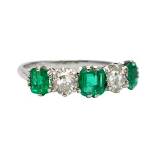 Antique Columbian Emerald Diamond Ring