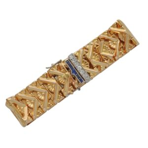 Mid Century 18ct Gold Diamond Sapphire Belt Bracelet
