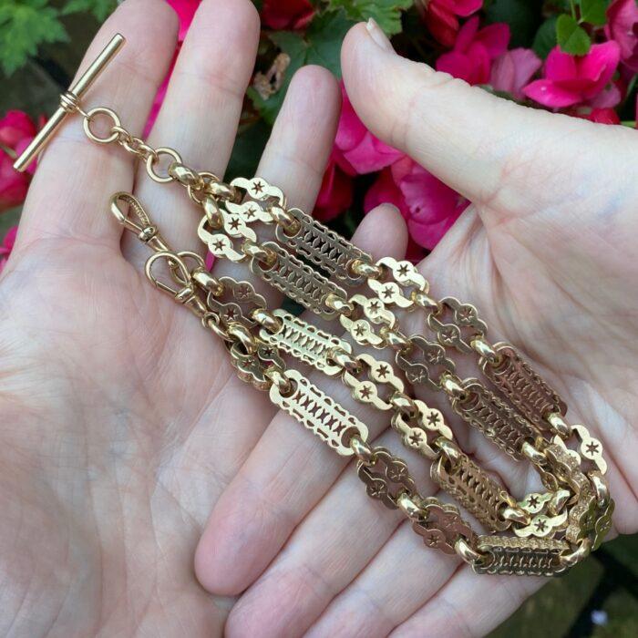 Antique 9ct Gold Double Albert Watch Chain