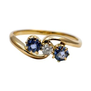 Sapphire and Diamond Trilogy Gold Ring
