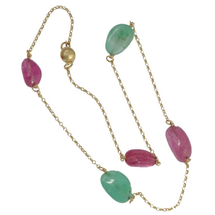 Cabochon Emerald Pink Tourmaline Gold Necklace