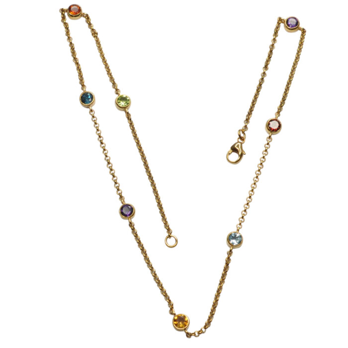 Multi Gemstone 9ct Gold Necklace