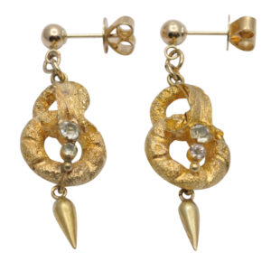 Victorian 15ct Gold Pendant Earrings