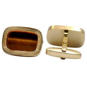 Vintage Tigers Eye 9ct Gold Cufflinks