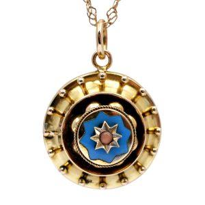 Victorian 15ct Gold Enamel Pendant