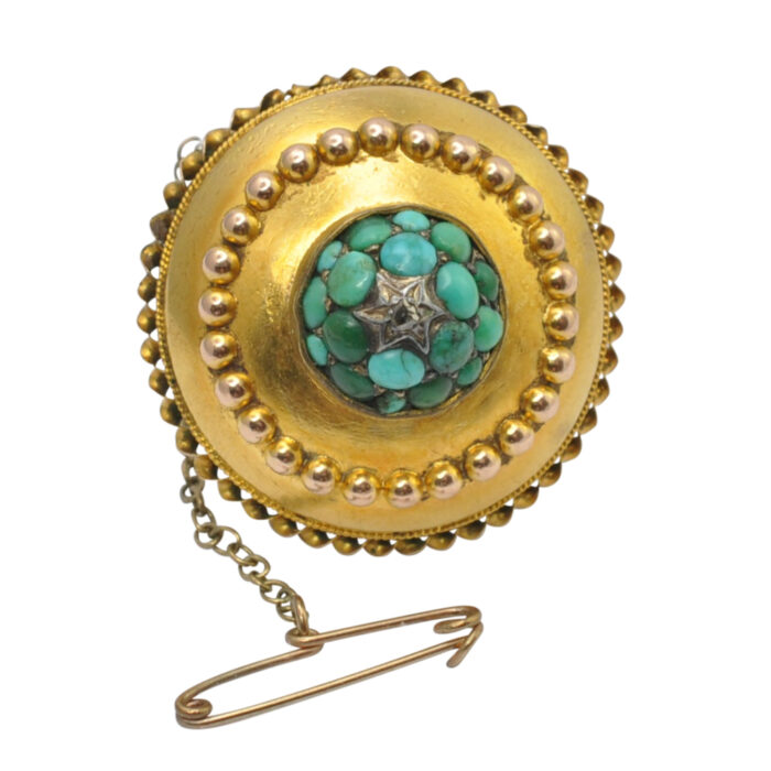 Victorian Turquoise 15ct Gold Etruscan Revival Brooch