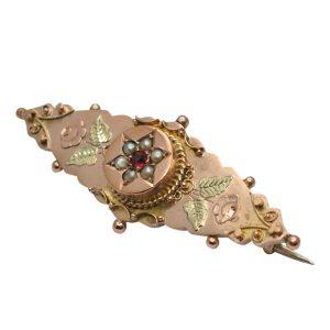 Victorian Garnet Pearl Gold Brooch