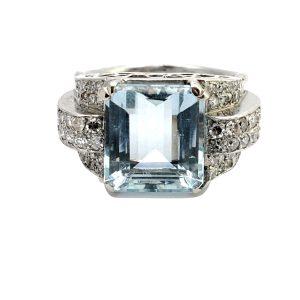 Art Deco Aquamarine Diamond Platinum Ring