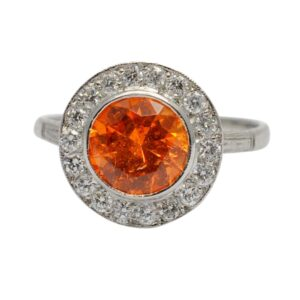 Mandarin Garnet Diamond Platinum Halo Ring