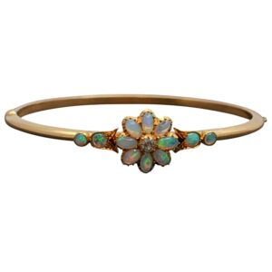 Victorian Opal Diamond 15ct Gold Bangle