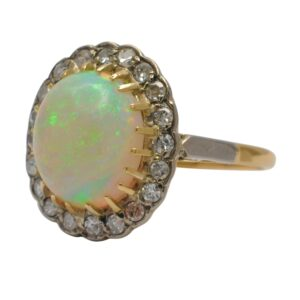 Vintage Opal Diamond 18ct Gold Ring