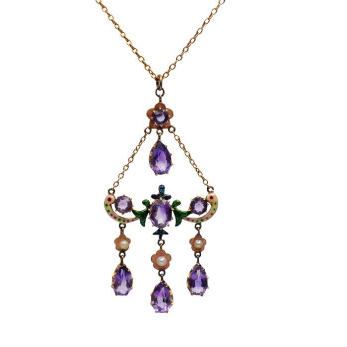 Edwardian Amethyst Enamel Pearl 15ct Gold Pendant