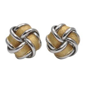 18ct Yellow & White Gold Knot Stud Earrings
