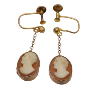 Vintage Cameo 9ct Gold Screw Back Earrings