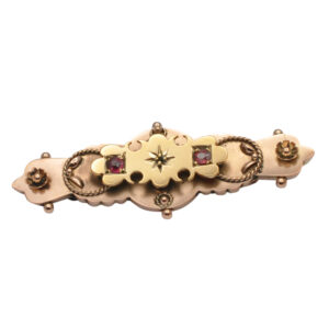 Edwardian Garnet 9ct Gold Brooch