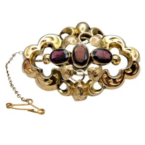 Victorian Garnet 9ct Gold Brooch