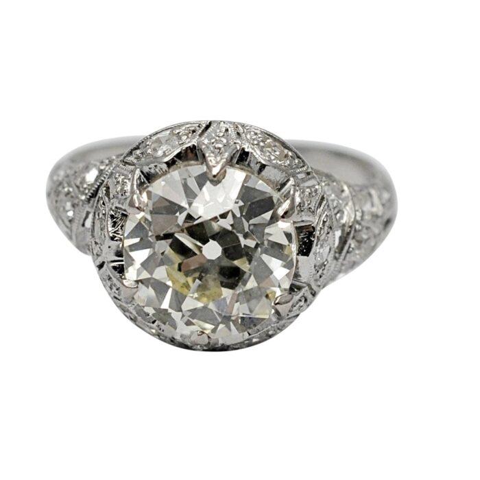Art Deco 3.09ct Solitaire Diamond Platinum Ring
