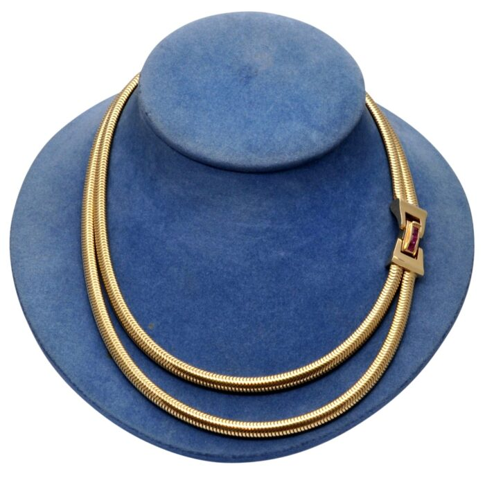 1940s Gold Ruby Double Gaspipe Necklace