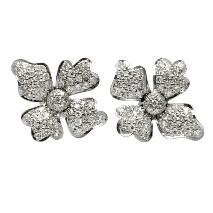 Mid Century Diamond 18ct Gold Flower Earrings