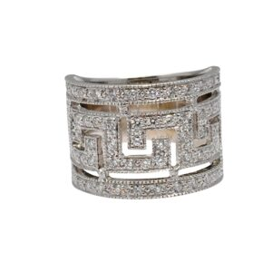 Diamond 18ct Gold Greek Key Band Ring