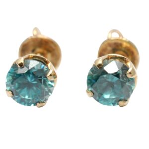 Blue Topaz 10k Gold Stud Earrings