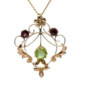 Edwardian Peridot Garnet Gold Pendant