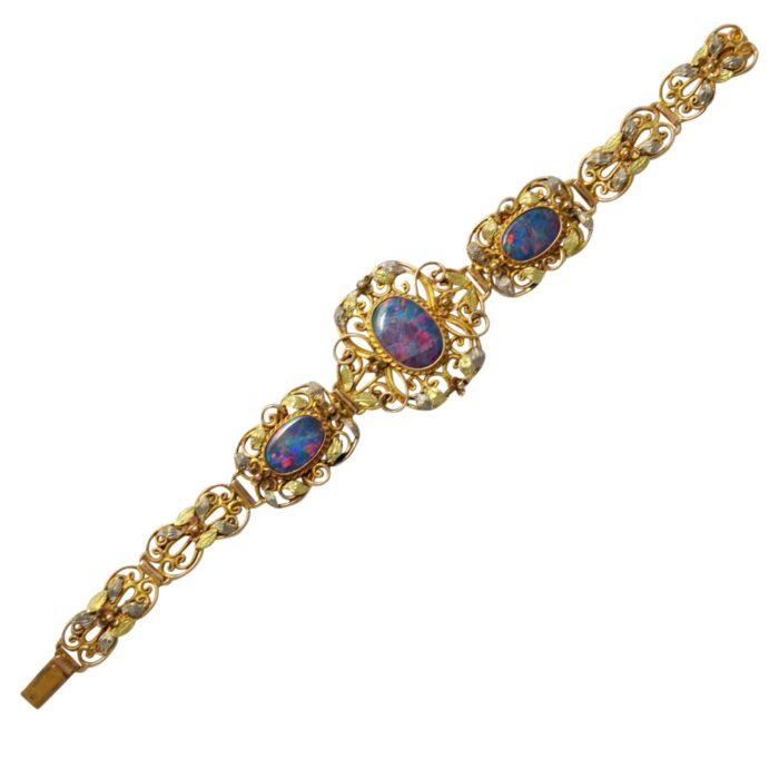 Rococo Style Opal Gold Bracelet