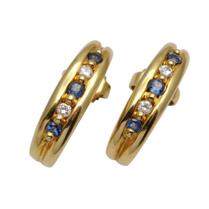 Diamond Sapphire Gold Half Hoop Earrings
