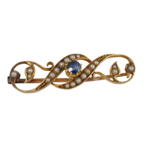 Victorian Sapphire Pearl 15ct Gold Brooch