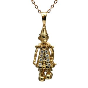 Vintage Gold Diamond Articulated Clown Pendant