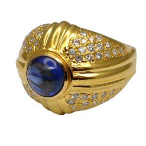 Cabochon Sapphire Diamond 14ct Gold Bombé Ring