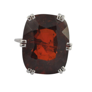Oversized 37.20ct Garnet White Gold Ring