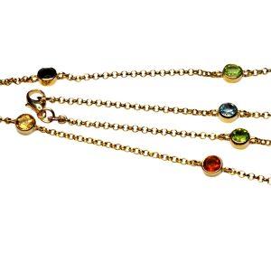 9ct Gold Multi Gemstone Necklace