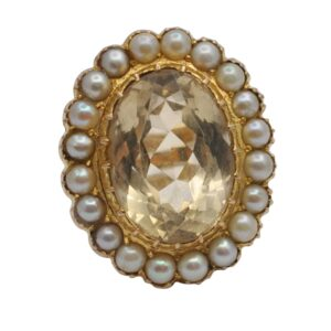 Vintage Large Citrine Pearl Gold Ring