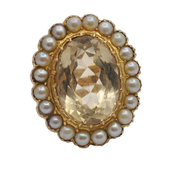 Vintage Large Citrine Pearl Gold Ring